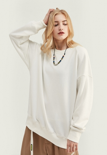 300G Solid Color Vintage loose Crew Neck Sweater