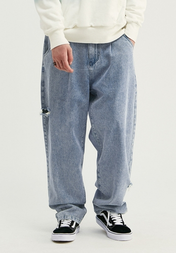 Hip-hop tannin wash water handmade hole straight jeans