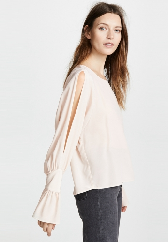 Shoulder cutout ruffled cuffs pullover shirt