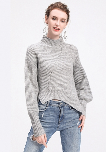 High-necked Lantern Sleeve Loose Knit Sweater