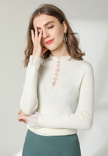 Micro bell sleeves sexy perspective bottoming shirt