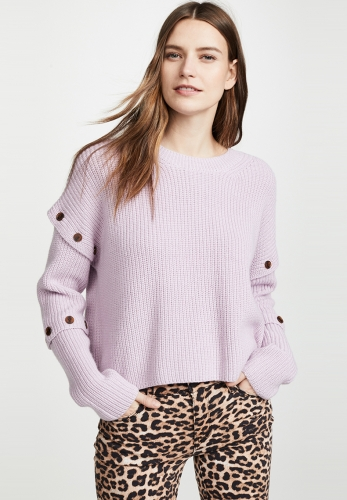 Simple small fresh round neck loose drop button sweater
