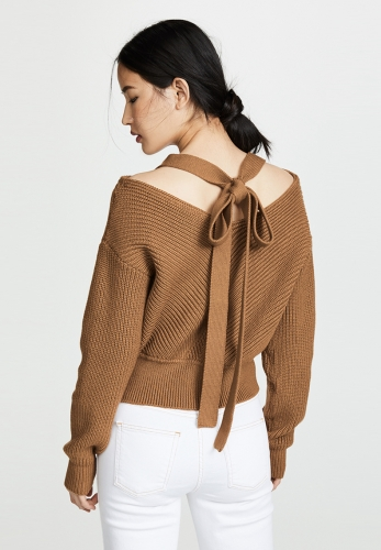 V-neck tie with bow-knit long-sleeved cardigan sweater