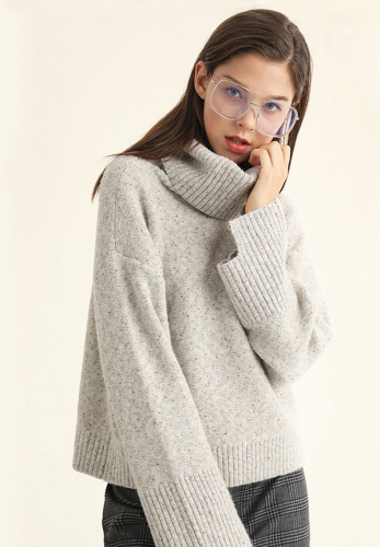 Anti-bottom weave color dot sweater
