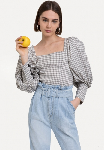 Retro square collar puff sleeve check shirt