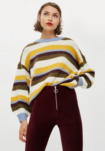 Simple striped loose shoulder oversized sweater