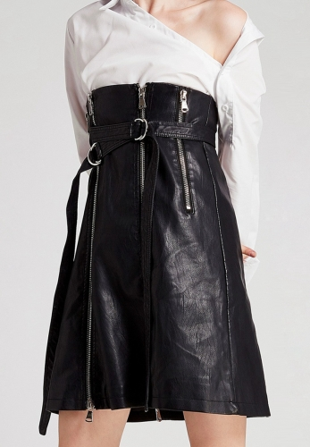 Multi-zipper decorative adjustable buckle waist skirt