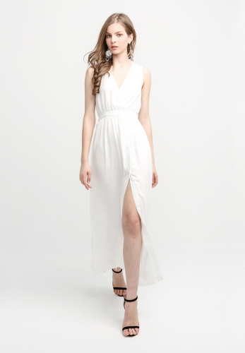 V-neck hem split-fork pleated chiffon dress