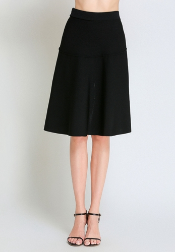 Hem split a-line skirt high waist skirt