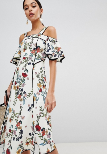 Bohemian floral print tube top dress