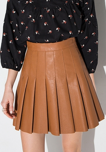PU leather pleated skirt