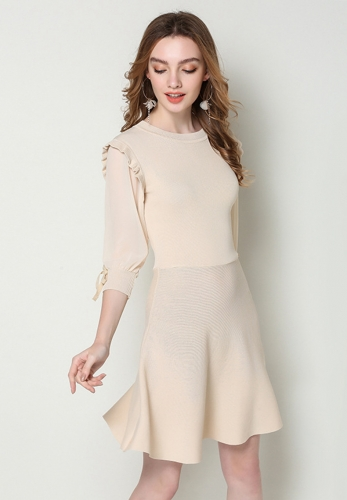 Chiffon stitching knit dress