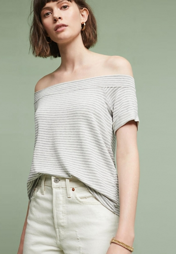 One-shoulder striped bottoming T-shirt