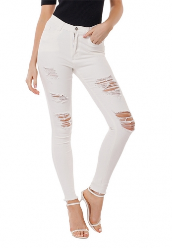 Slim-fit stretch-hole washed jeans