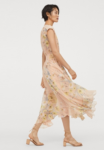 V-neck sleeveless elastic waist flower pattern chiffon dress