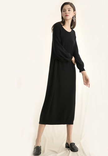 Seamless full-length round neck pullover lantern sleeves knit dress