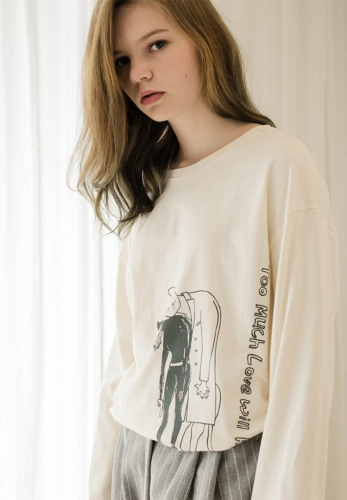 Personality pattern letter print T-shirt