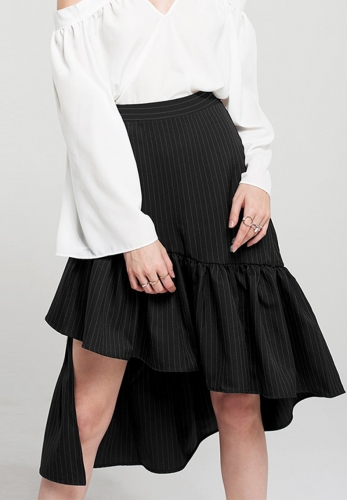 Vertical stripes irregular ruffled skirt