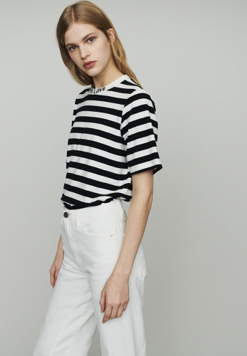 Striped Letter Embroidered Round Neck Metal Zipper Loose T-Shirt