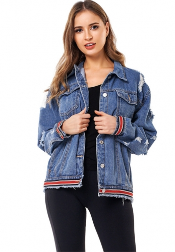Broken hole loose denim jacket ribbon denim jacket