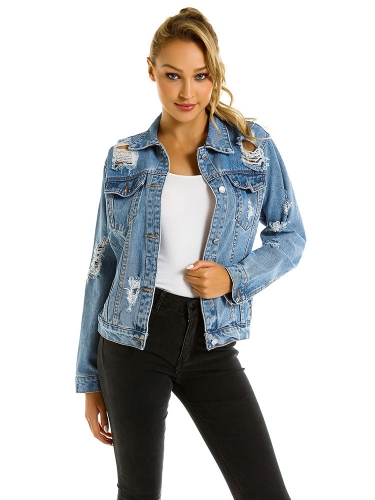 Broken hole denim jacket