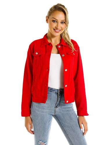 Red denim jacket loose