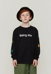 Colorful five-pointed star printed long-sleeved T-shirt