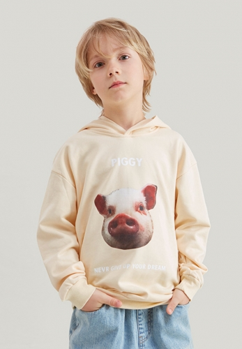 Pig head thin hooded sweater