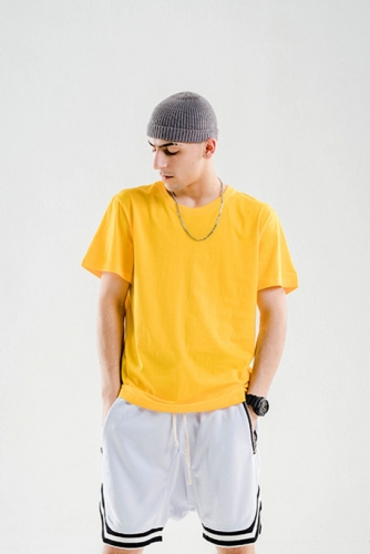 Cylinder seamless solid color basic short-sleeved t-shirt advertising shirt
