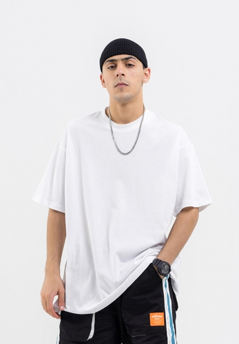 Solid color basic oversize short-sleeved T-shirt