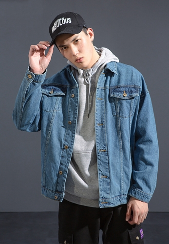 Contrast stitching multi-pocket denim jacket