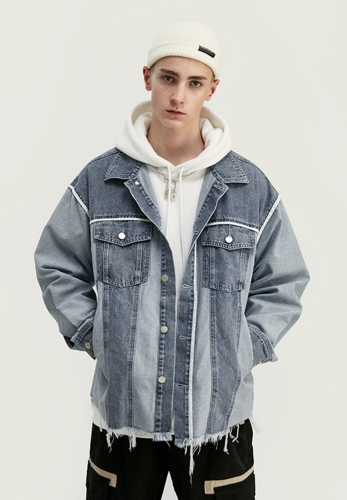 Colorblocked hem loose jacket denim jacket