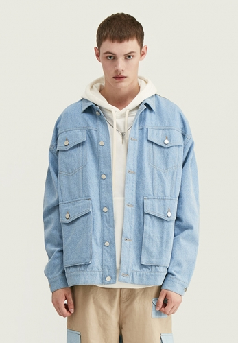 Multi-pocket denim personality stitching loose jacket