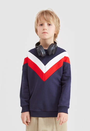 V-shaped splicing loose boys and girls head 300G sweater