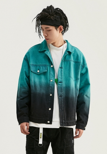 Gradient hanging dyed loose denim jacket