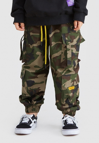 Camouflage beam, big pocket, big children's workwear, casual pants
