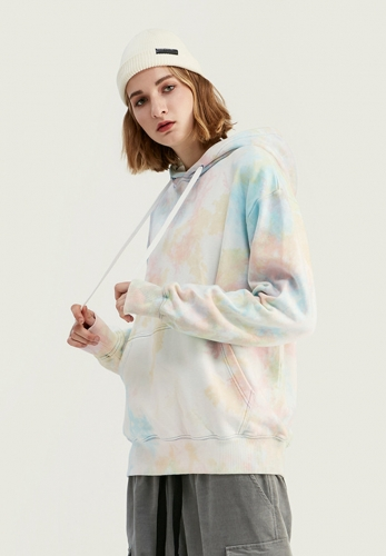 Loose letter print gradient tie dyed hooded sweater