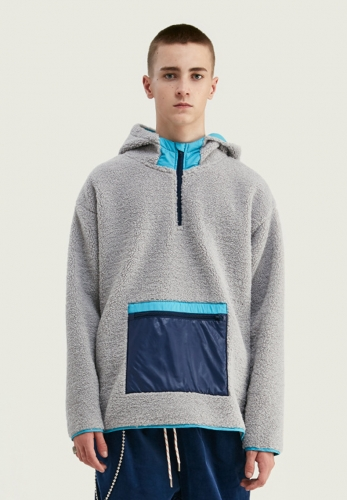 Contrast pocket lambskin hooded sweater