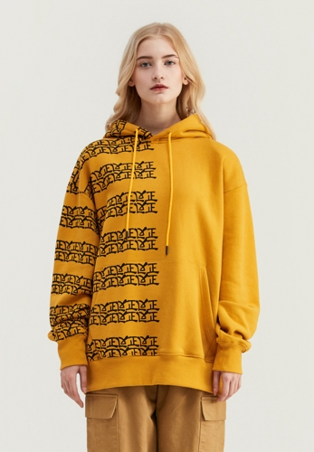 Positive and negative Chinese printed hooded cotton sweater
