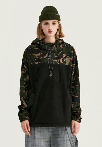 Camouflage stitching fleece hem drawstring beam hooded sweater