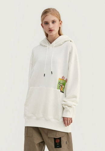 Chinese printed drink wins loose shoulder hooded sweater
