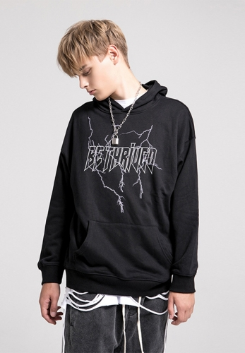 Letters washed retro loose hoodie