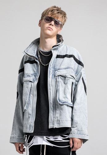 Streetwear retro washed cowboy jacket