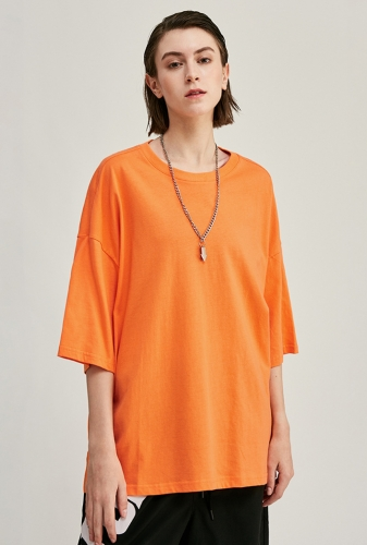 190G Oversize Solid Color Drop Shoulder Unisex T Shirt