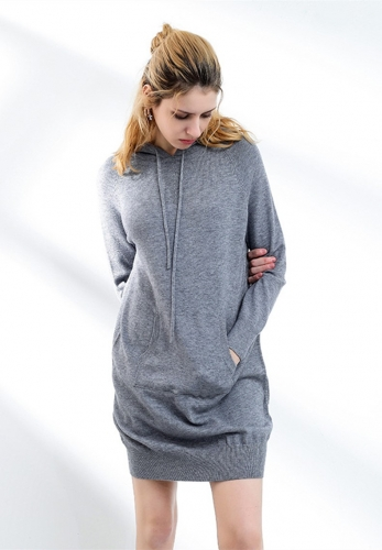 Hoodie style knitted pocket dress