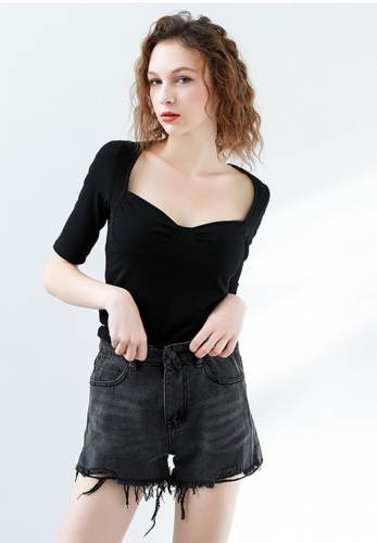 Solid bra short sleeve sexy top