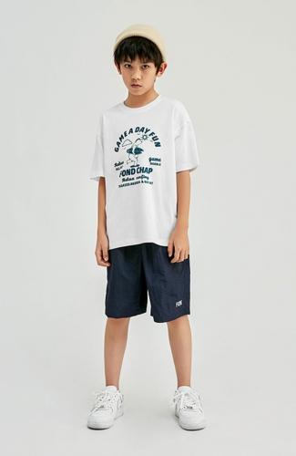 Summer Short-Sleeve White T-shirt for Boy