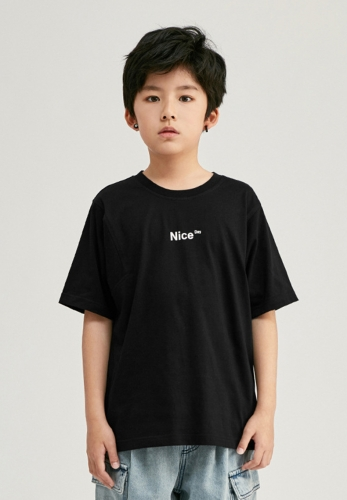Heavy industry split stitching boy pure cotton short-sleeved T-shirt