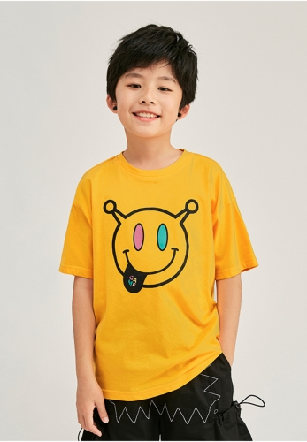 Smiley face boys' cotton loose short sleeve T-shirt