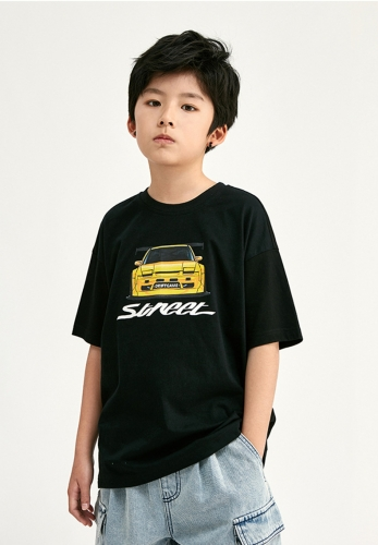 Car high precision printing medium and large children's Casual Short Sleeve T-shirt